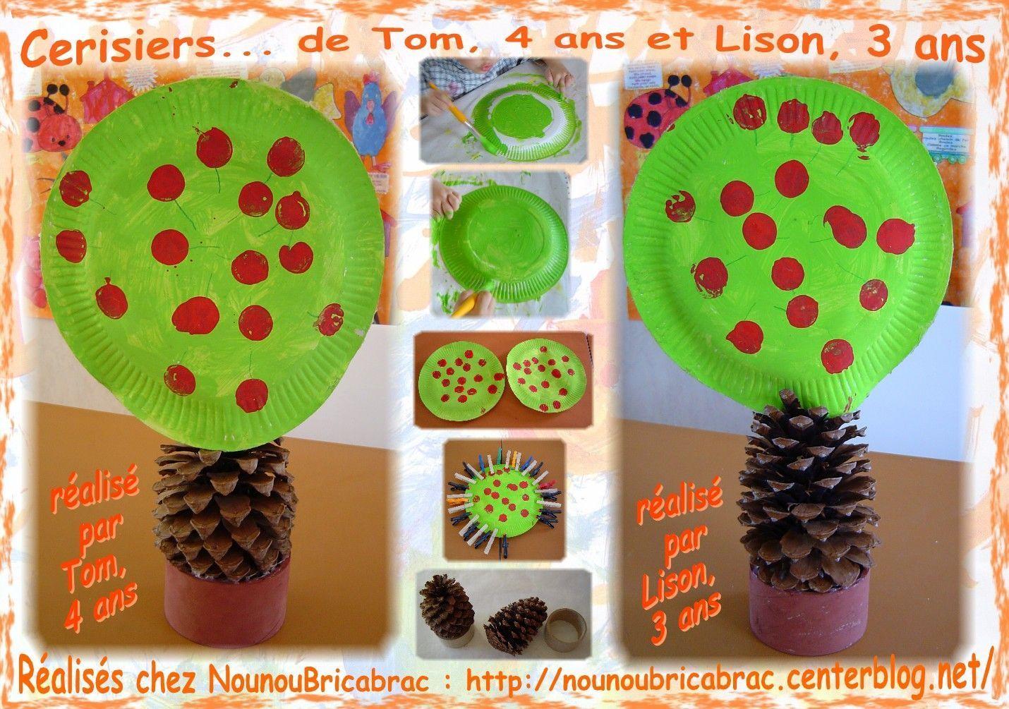Cerisiers réalisés par Tom, 4 ans et Lison, 3 ans
