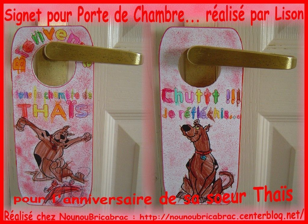 Signet de porte *Scooby doo* pour chambre de Thas ralis par Lison