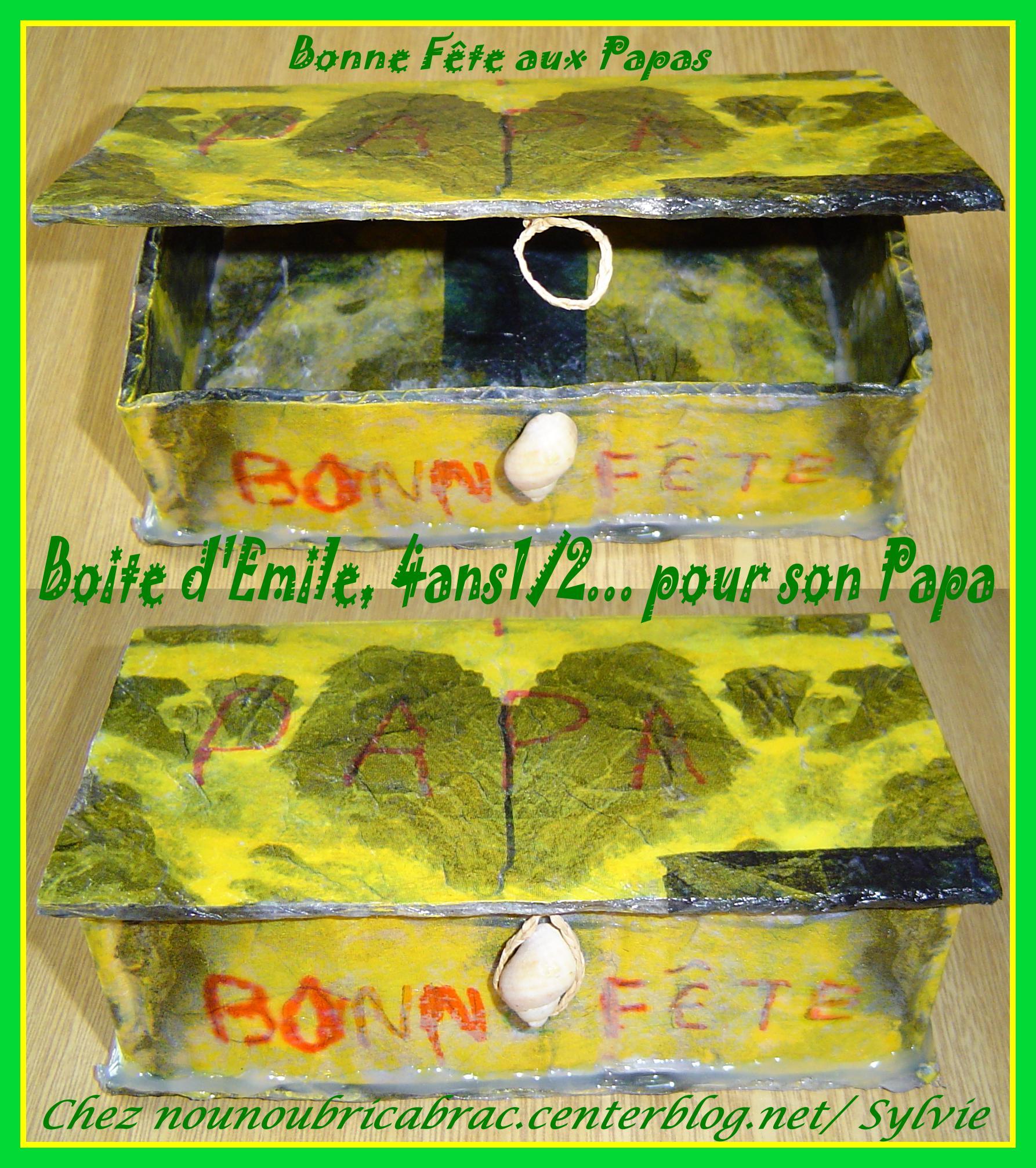 Boîte à trésors... faite par Emile pour son papa