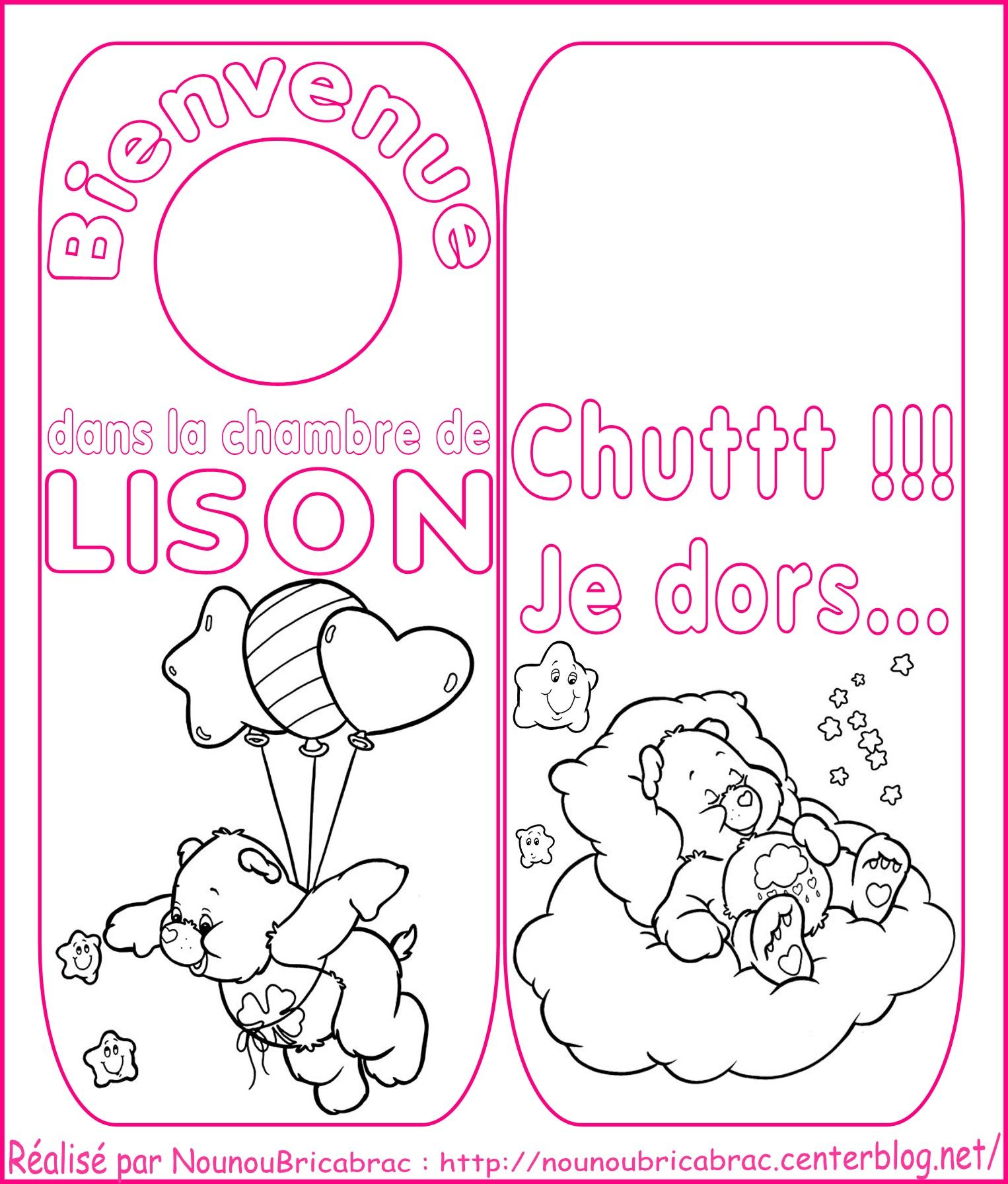 Signet de porte *Bisounours* pour chambre de Lison