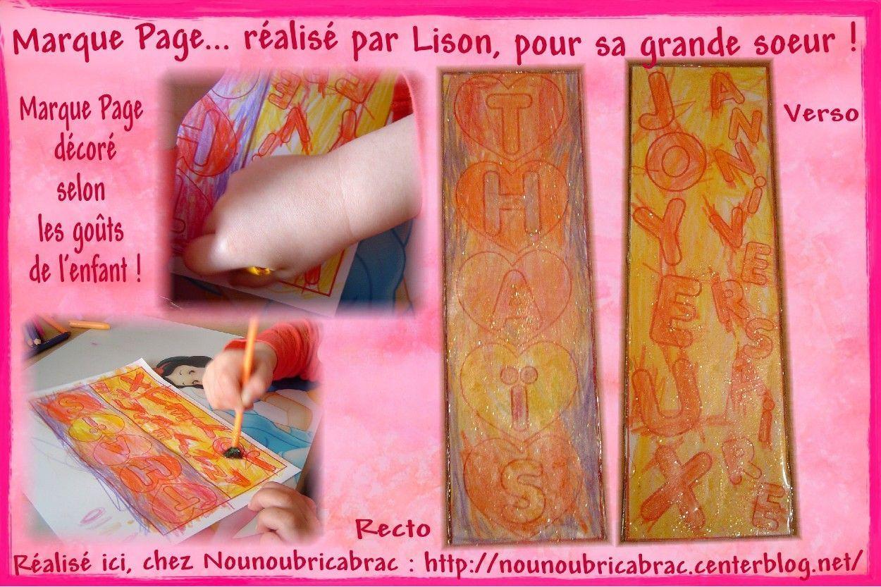 Marque Page, Joyeux Anniversaire Thaïs... décoré par Lison, 3 ans !