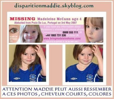 AVIS DE RECHERCHER POUR RETROUVER MADDIE