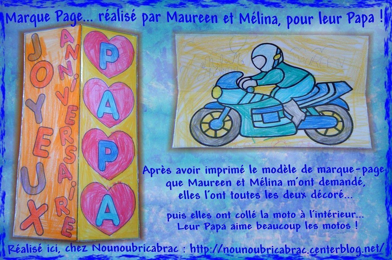 Marque Page, Joyeux Anniversaire Papa... décoré par Mélina et Maureen