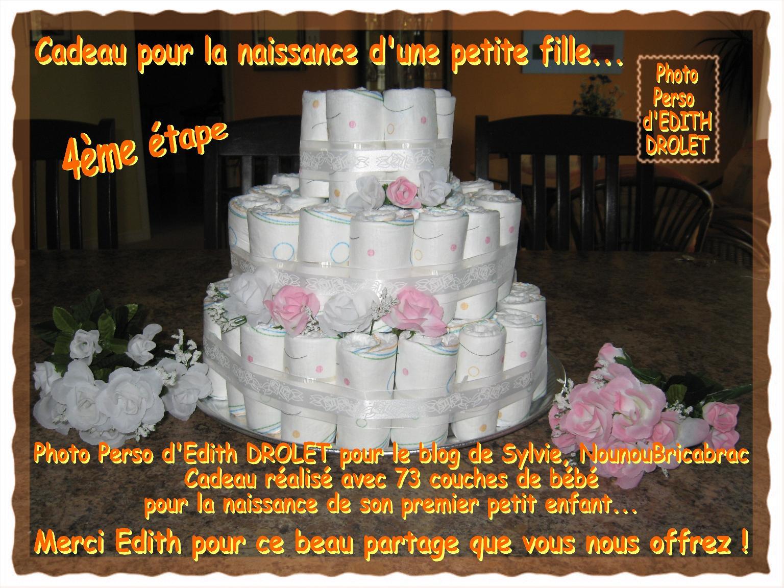 Gâteau - Cadeau pour la naissance d'une petite fille... 4ème étape, réalisé par Edith du Québec