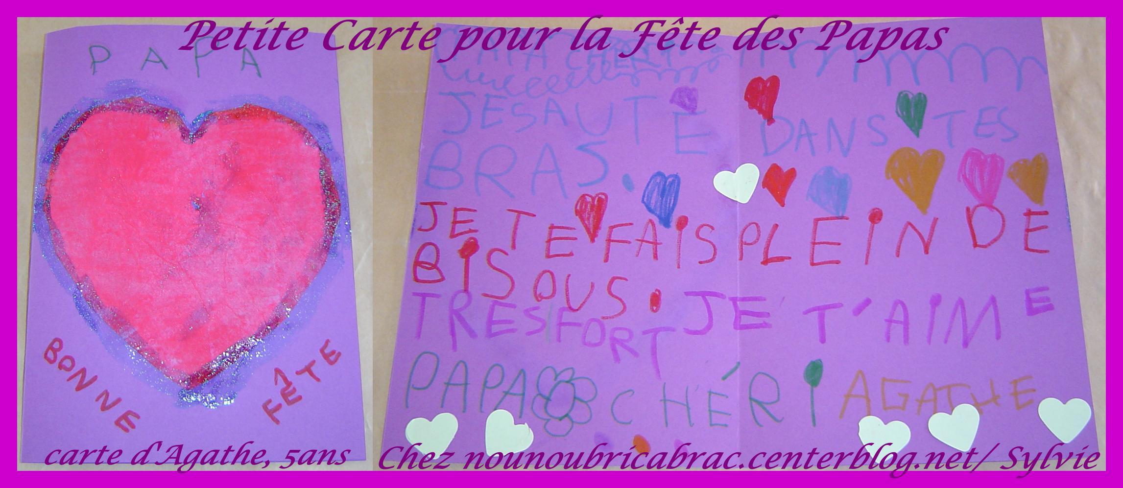 Carte d'Agathe, 5 ans... Pour son Papa