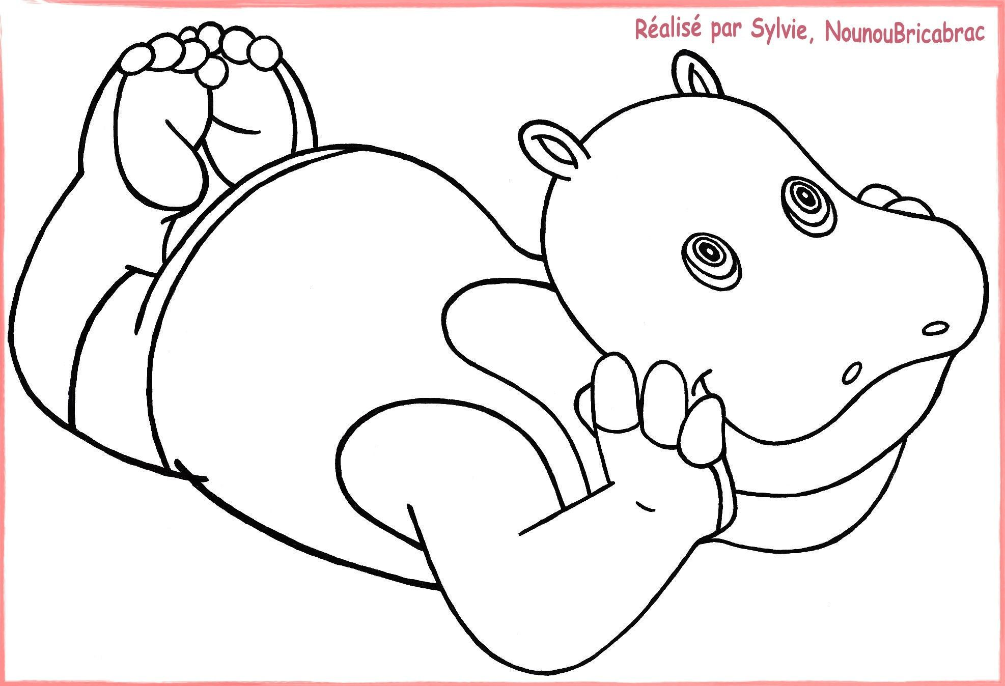 Coloriages animaux page 3 - Dessin d hippopotame ...