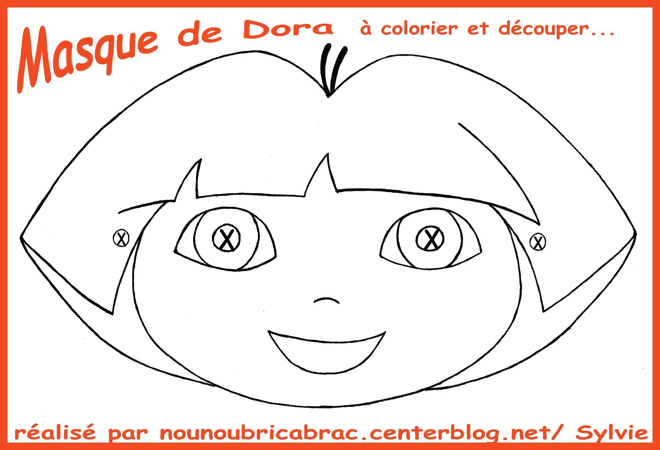 Dora... Masque à colorier et à découper