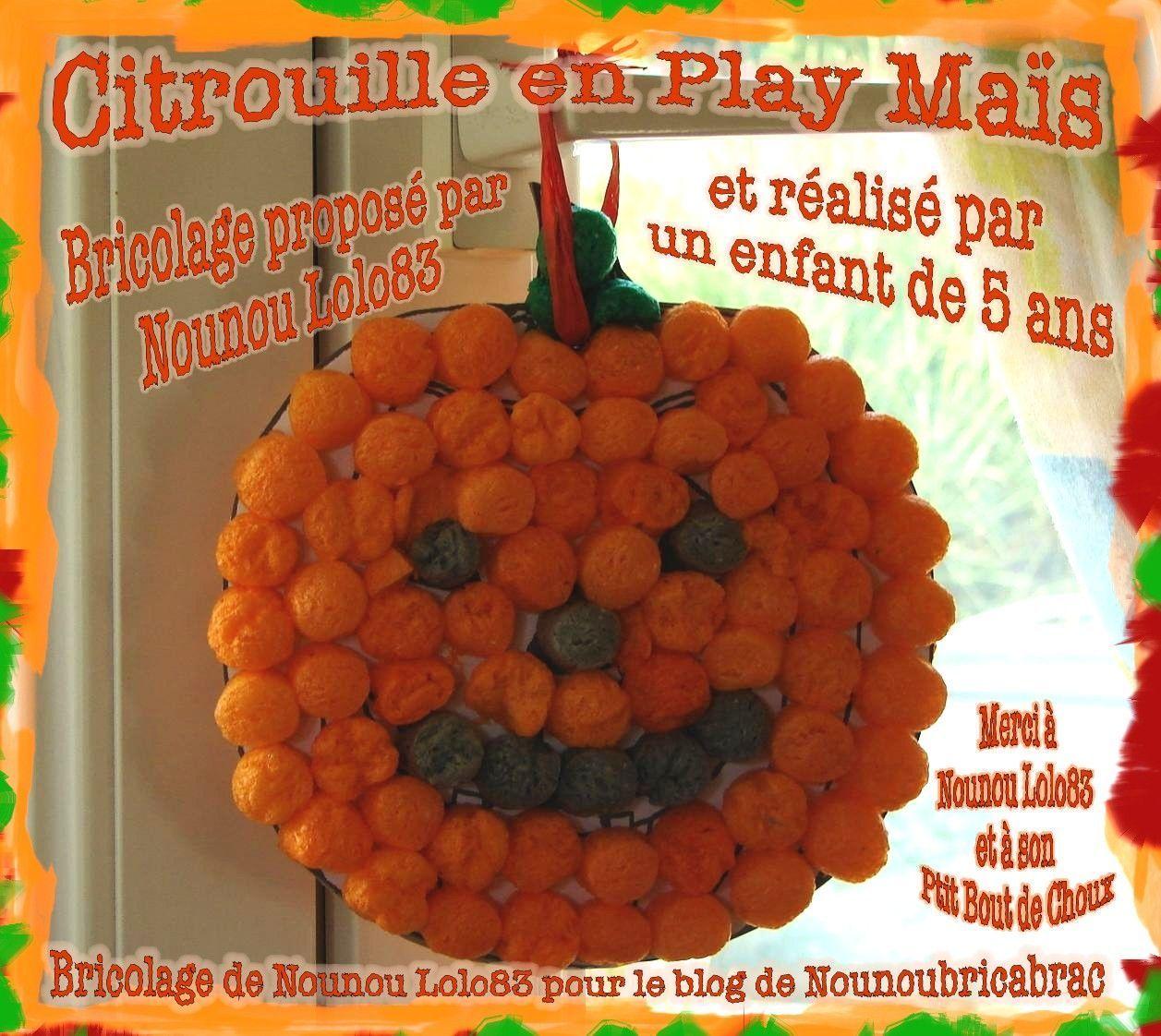 Citrouille en Play Maïs... bricolage proposé par Nounou Lolo83 ...