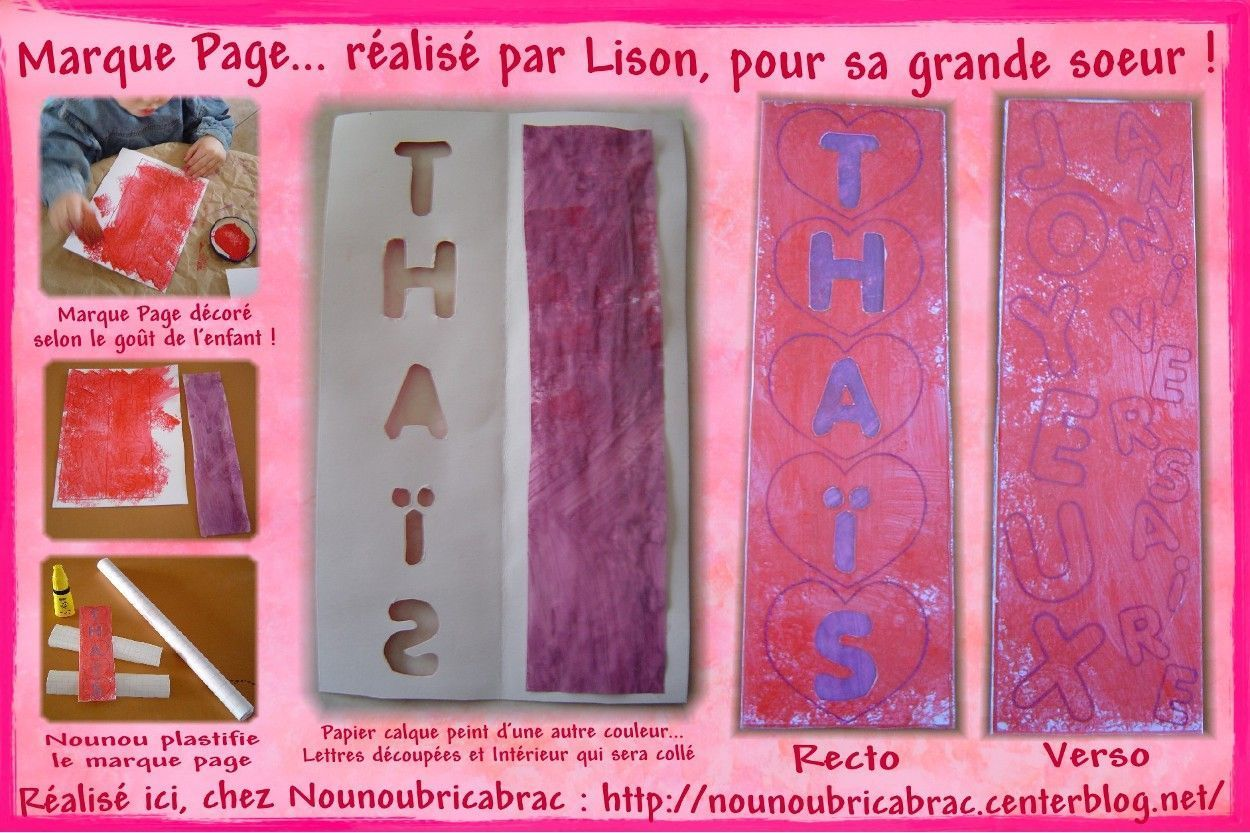Marque Page, Joyeux Anniversaire Thas... dcor par Lison, 3 ans !
