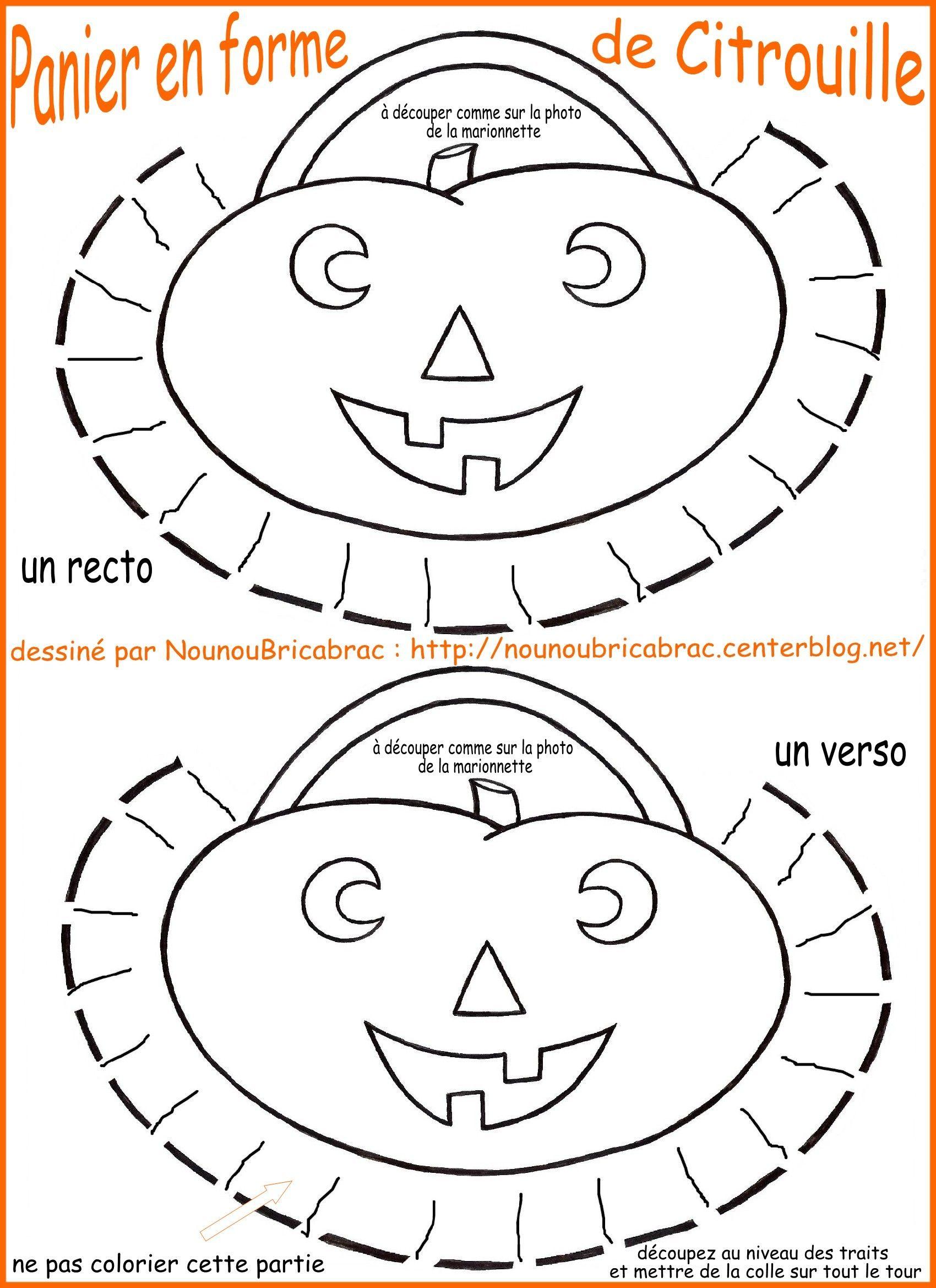 Panier en forme de citrouille pour notre Sorcière d'Halloween... à colorier et à monter