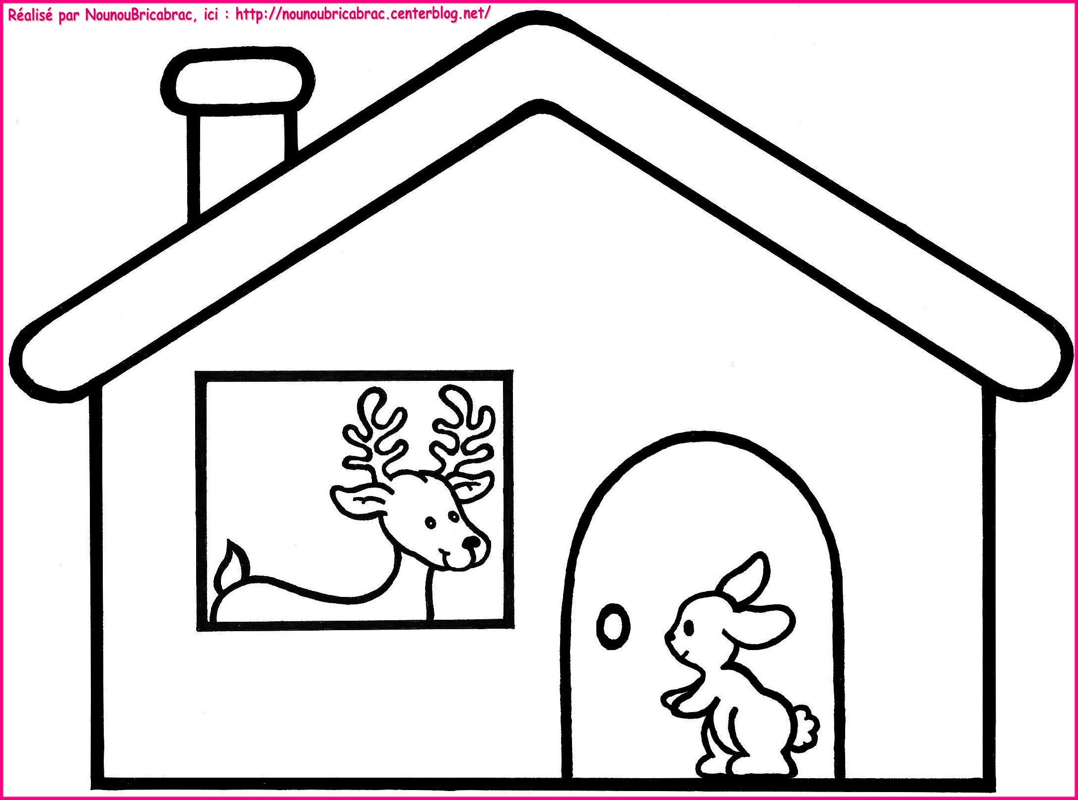 Dans sa maison un grand cerf coloriage pour illustr for Image maison dessin